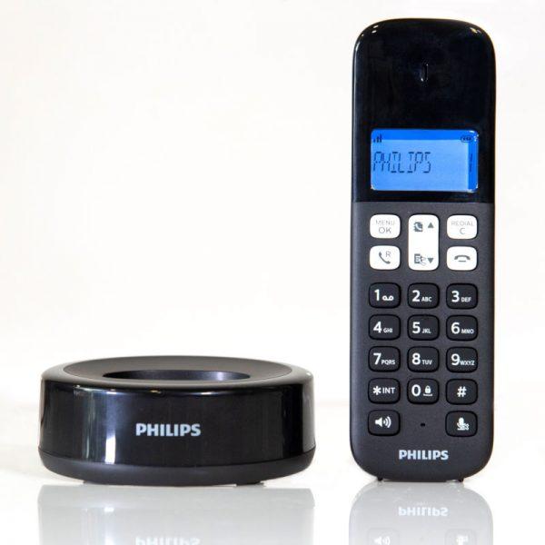 Philips D1611B/GRS Μαύρο (Ελληνικό Μενού) Ασύρματο τηλέφωνο ανοιχτή ακρόαση