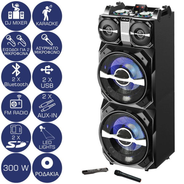 55110582-0019-Akai DJ-T5 Φορητό ηχείο με μίκτη