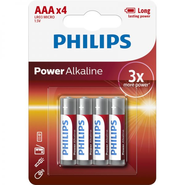 Philips LR03P4B/10 Power Alkaline Αλκαλικές μπαταρίες υψηλής απόδοσης 4 τμχ AAA