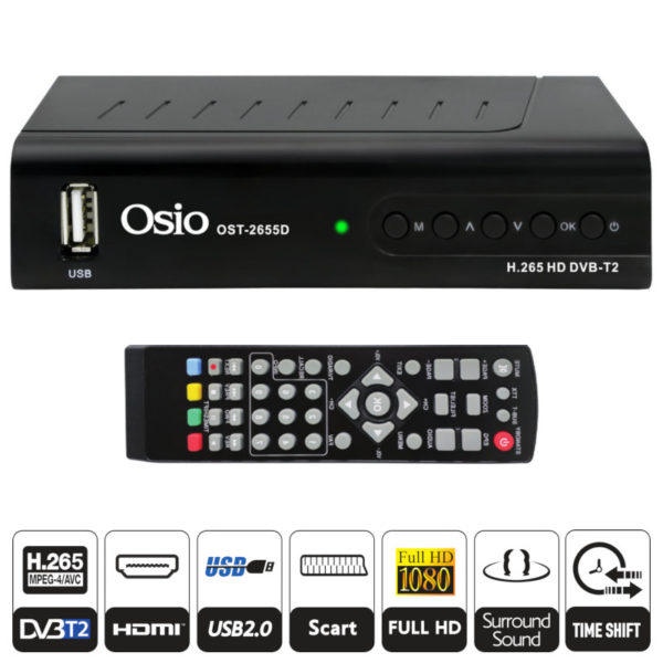 55112080-0002-Osio OST-2655D DVB-T/T2 Full HD H.265 MPEG-4 Ψηφιακός δέκτης με USB