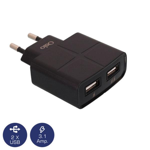 5519491-2850-Osio OTU-285B Μαύρο Διπλός φορτιστής ρεύματος με 2 USB 5 V 1000 / 2100 mA