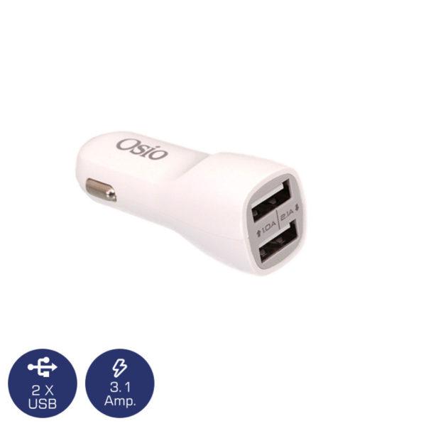 5519491-3651-Osio OTU-365W Διπλός φορτιστής αυτοκινήτου με 2 USB 5 V 1000 / 2100 mA