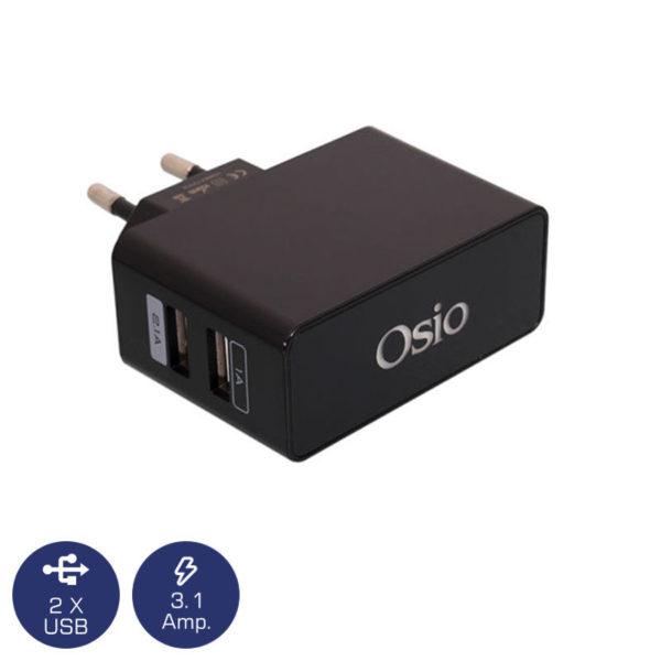 5519491-3850-Osio OTU-385B Μαύρο Διπλός φορτιστής ρεύματος με 2 USB και LED 5 V 1000 / 2100 mA