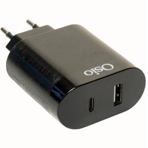 Osio OTU-5904B Διπλός φορτιστής κινητού με USB Type-C και USB Type-A – 18W