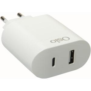 Osio OTU-5904W Διπλός φορτιστής κινητού με USB Type-C και USB Type-A – 18W