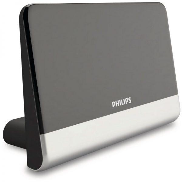 Philips SDV6222/GRS Κεραία τηλεόρασης HDTV/4K/UHF/VHF/FM εσωτερικού χώρου με ενισχυτή 48 dB και φίλτρο GSM  – 21 x 14 cm