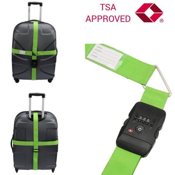 551106550-0004-Olympia TSA 400 Διπλός ιμάντας ασφαλείας αποσκευών με συνδυασμό TSA Approved Πράσινος