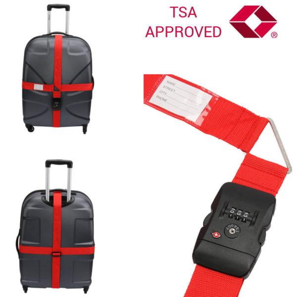 551106550-0003-Olympia TSA 400 Διπλός ιμάντας ασφαλείας αποσκευών με συνδυασμό TSA Approved Κόκκινος